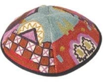 Hand Embroidered Kippah with Jerusalem Multicolor