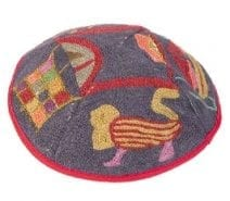 Hand Embroidered  Kippah with Twelve Tribes Theme
