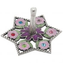 Jeweled Dreidel with Flowers - Pewter