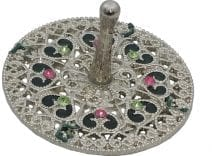 Jeweled Round  Dreidel with Hearts - Pewter