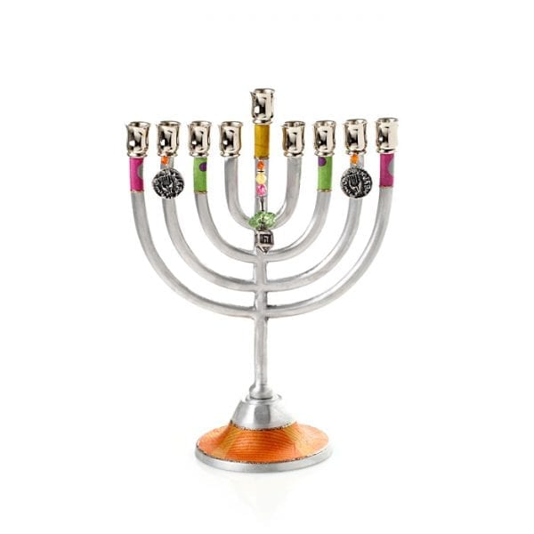 Decorative Colorful  Aluminum Hanukkah Menorah with Dreidel Charm
