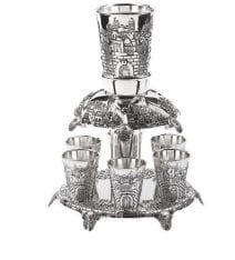 Judaica Silver Fountain with 6 Cups Jerusalem Theme Israel Gift