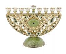 Judaica Jewled Green and White Half Round Hanukkah Menorah with Amber Crystals
