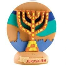 Magnet Menorah Seven Branch and Jerusalem Colorful
