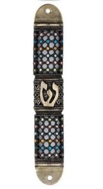 Judaica Mezuzah Case with the letter Shin & Honeycomb Pattern Brass and Enamel