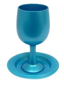 Anodized Aluminum Kiddush Cup with Plate Turquoise