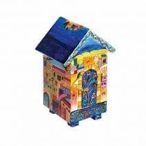 Charity Tzedakah Box Jerusalem Theme Wooden Painted House Emanuel