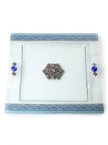 Lily Art Glass Matza Plate with Blue Floral Pattern