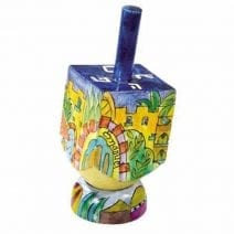 Yair Emanuel Sevivon Wooden Dreidel with Stand Holly Jerusalem Hanukkah