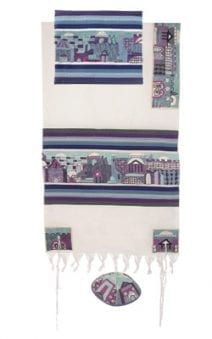 Yair Emanuel Tallit Set  Hand Full Embroidered Jerusalem in BlueTheme