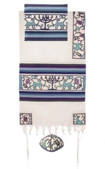 Yair Emanuel Tallit Set Hand Full Embroidered Papercut Theme