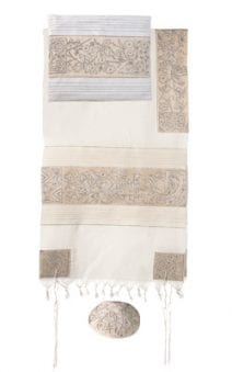 Yair Emanuel Tallit Set Hand Full Embroidered The Matriarchs in Silver