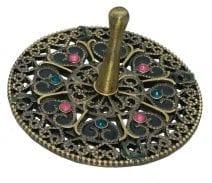 Jeweled Round Dreidel with Hearts - Brass