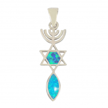 Grafted In Opal Pendant - The Messianic Seal of Jerusalem - Blue