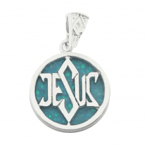 925 Silver Dark Blue Opal Jesus Necklace