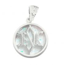 925 Silver White Opal Jesus Pendant