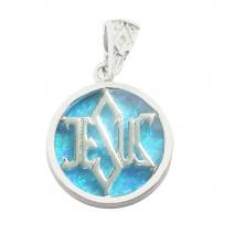 925 Silver Light Blue Opal Jesus Messianic Pendant