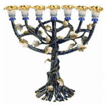 7 Branch Blooming Menorah in Turquoise with Sapphire Crystals