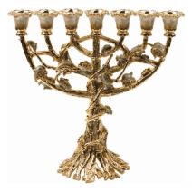 Blooming Menorah with Ivory Flowers & Amber Crystals