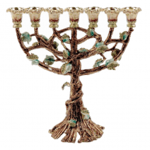 Blooming Menorah in Brown with Emerald Crystals