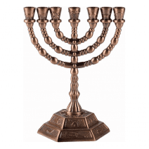 7 Branch Menorah Twelve Tribes of Israel in Cooper