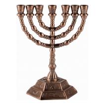 7 Branch Menorah Twelve Tribes of Israel in Cooper