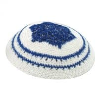 White Knitted Kippah with Blue Star of David and Stripes
