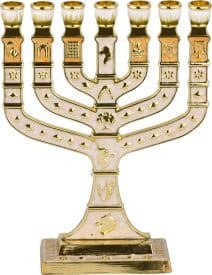 "7 Branch Small Menorah White Enamel & Golden Undertones - ""12 Tribes of Israel"""
