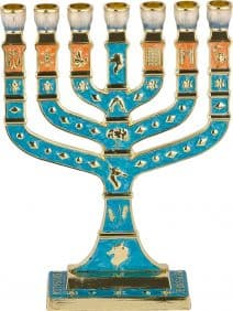 7 Branch 12 Tribes Menorah Turquoise Enamel with Orange & Golden Undertones