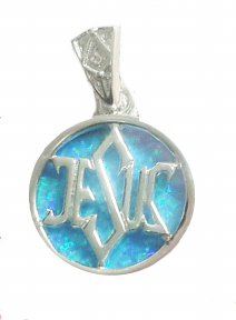 925 Silver Light Blue Opal Jesus Messianic Pendant
