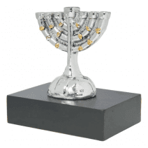 Silver Miniature Menorah – Golden Details