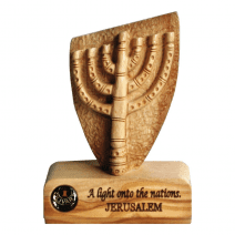 Menorah table plaque in Olive Wood