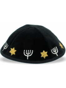 Black Velvet Kippah with Menorahs and Stars of David