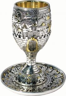 Judaica Kiddush Cup & Matching Plate Gates of Jerusalem