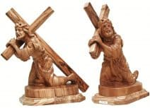 Hand Carved Olive Wood Jesus Christ carrying the Cross