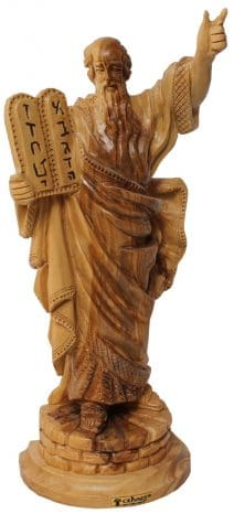 Olive Wood Handmade Statue of Moses with the Ten Commandments
