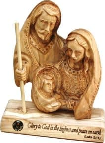 Hand Carved Holy Land Olive Wood  Holy Family table Plaque. Holy Land gift