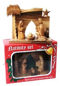 Nativity scene stable with Holy Family