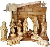 "Hand Carved Holy Land Olive Wood Nativity Set 111 Figures 6.3"""