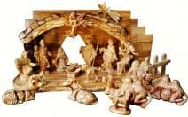 Hand Carved Holy Land Olive Wood Nativity Set 16 Figures 4.7""