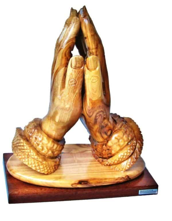 Olive Wood Praying Hands with Base  Statue