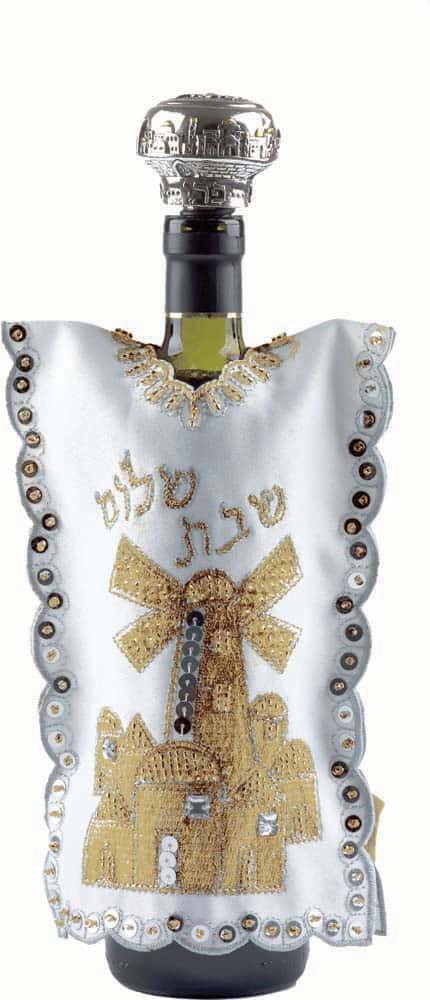 Wine Bottle Cover for Shabbat -  Jerusalem in Gold