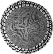 Gray and White Checkered Knitted Kippah