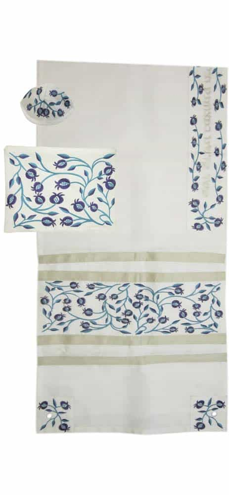 Embroidered Blue Pomegranates Tallit Set