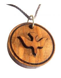 Holy Spirit Pendant Hand Made laser Engraved Olive Wood
