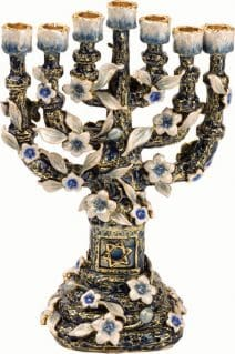 Jeweled 7 Branch Menorah Flowers 24K Gold Plated Turquoise and Blue Crystals