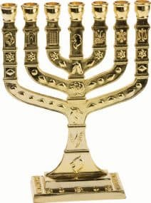 7 Branch 12 Tribes Menorah Plated in Gold