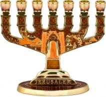 7 Branch Jerusalem Menorah Brown Enamel with Orange and Golden Undertones
