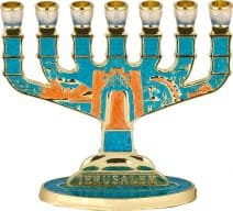 7 Branch Jerusalem Menorah in Turquoise