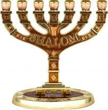 "7 Branch Menorah with Brown  Enamel & Golden Undertones ""SHALOM"""